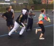Students running relay
